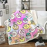 Manta de forro polar para niñas, diseño de donuts de chocolate, para decoración de sofá, cama, linda y encantadora manta de felpa de postre caprichosa manta colorida y difusa de 150 x 152 cm