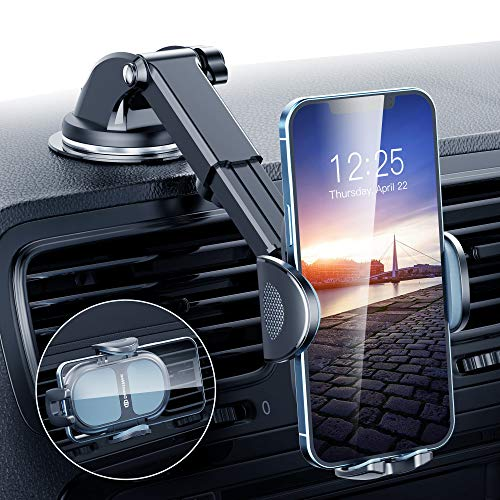 DesertWest Universal Car Phone Mount, Latest Upgraded Phone Holder for Car Dashboard Windshield Air Vent Compatible with iPhone 12 11 Pro Max Samsung S20 S10 Note All Phones