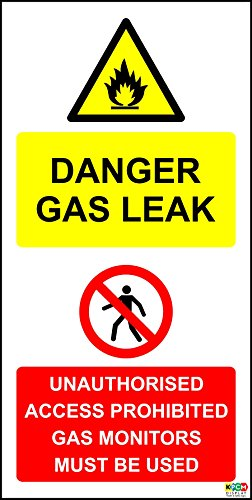 DANGER GAS LEAK UNAUTHORISED ACCESS PROHIBITED GAS MONITORS MOET worden gebruikt SIGN - 1.2mm rigide plastic 300mm x 150mm