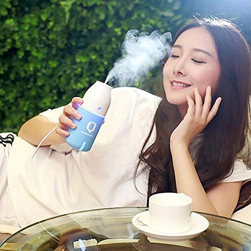 WARM home Casa Imycoo WT-8015 Mini luchtbevochtiger draagbare USB aroma-luchtbevochtiger met 2 flessen, 150 ml, DC 5 V, verstuiver met gekleurde LED-lampjes (kleur: blauw)