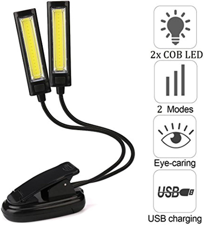 Leselampe,Jaminy Scheinwerfer Flexible USB-Clip-On 2X COB LED Licht Lesen Study Tischlampe Wiederaufladbar Nachtischlampe Schreibtischlampe ,Flexibel Leselampe Am Bett