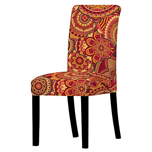 GVJKCZ Fundas para sillas,Flor Redonda Creativa roja Naranja sillas Elásticas y Modernas Funda Asiento...
