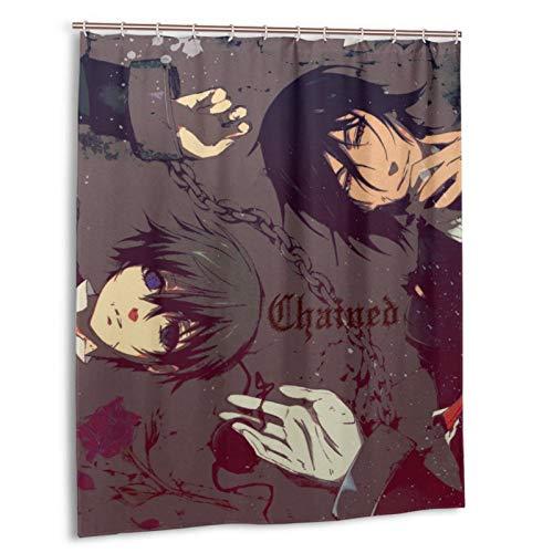 Anime Black Butler Duschvorhang 152,4 x 183,9 cm wasserabweisend Duschvorhang mit Haken Polyester exquisiter Druck waschbar