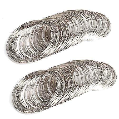 Schmuckdraht, mit 400 Schlaufen, für Armbänder, aus Stahl, Memory-Draht, für Schmuckherstellung, für Bastelarbeiten, Silberfarben