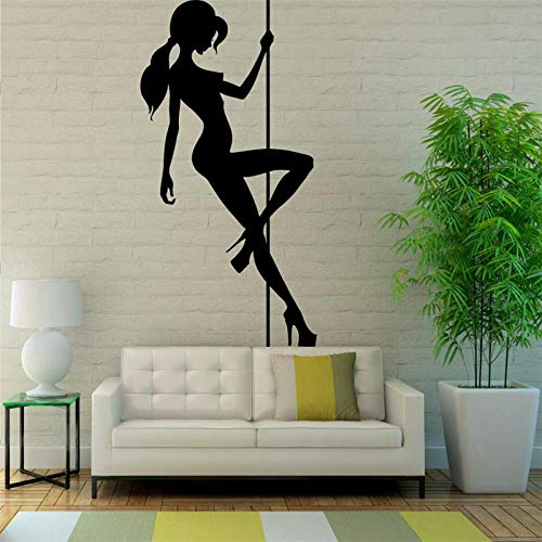Pole Dance Girl Muurtattoo Mooie hete vrouw sticker romantische afneembare lijm Home Decor Salon schoonheidspatroon 57X98Cm