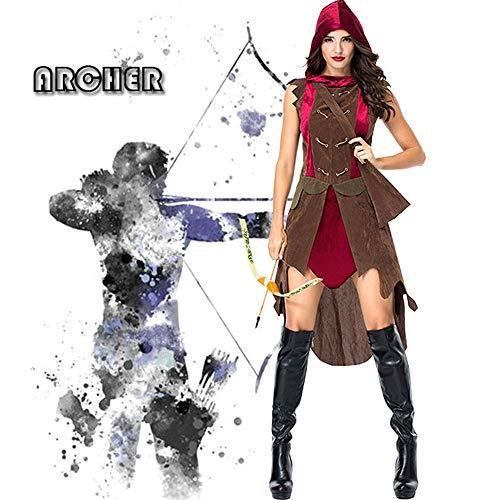 JJAIR Adultos Traje de Cazadora, Cazadora de Vestuario Bosque Princesa Traje Adulto Little Red Riding de la Mujer,S