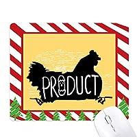 ブラック・チキンの動物のシルエットのナチュラル ゴムクリスマスキャンディマウスパッド