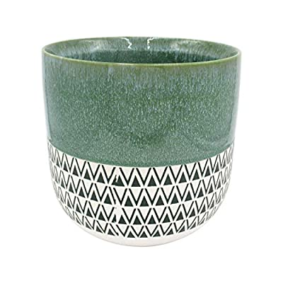 """Amazon Brand – Stone & Beam Mid-Century Two-Toned Planter, 10.53""""H, Teal Green"""
