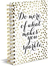 """Graphique Sparkle Hard Bound Journal w/ Gold Polka Dots & """"Do More of What Makes You Sparkle"""" Message, 160 Ruled Pages, 6.25"""
