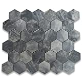 Stone Center Online Bardiglio Gray Dark Grey Marble 2' Hexagon Mosaic Tile Polished Kitchen Backsplash Bathroom Floor Tile