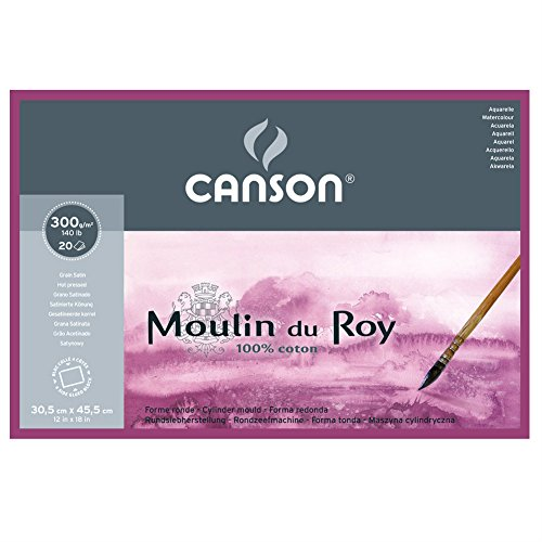 Canson Moulin Du Roy 300gsm Watercolour Paper, Hot Pressed Texture, Size:30.5x45.5cm, Block of 20 Sheets