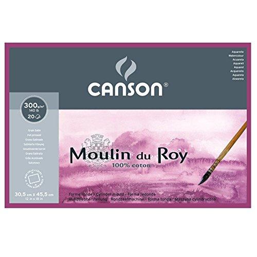 Canson Moulin du Roy - Bloc papel de acuarela, 30.5 x 45.5 cm, color blanco natural