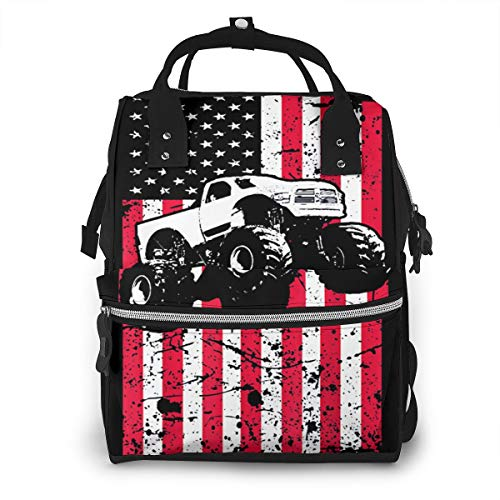 Iop 90p Truck American Flag Multi Function Travel Mummy Backpack Diaper Bag Sac a bandouliere