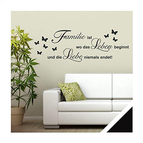 Exklusivpro Wandtattoo Spruch Worte Familie ist Leben Liebe inkl. Rakel (zit46 schwarz) 120 x 41 cm mit Farb- u. Größenauswahl