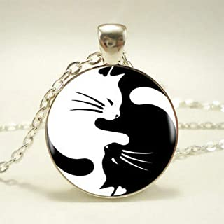 1X Lucky Yin Yang Cat Pendant Choker Statement Silver Necklace For Women Jewelry Pretty Beautiful Bright For gift Simple Aesthetic Fashionable Comfortable