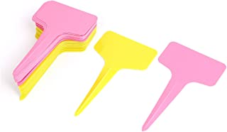 Sourcingmap T Type Plastic Plant Seed Tag Label Marker Stick - Yellow/Pink (50-Piece)