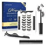 Magnetic Eyelashes Kit,7 Pairs Magnetic Eyelashes,With Waterproof Eyeliner Kit Reusable 3D Waterproof Natural Look Magnetic False Lashes With 2 Tubes Eyeliner No Glue Needed