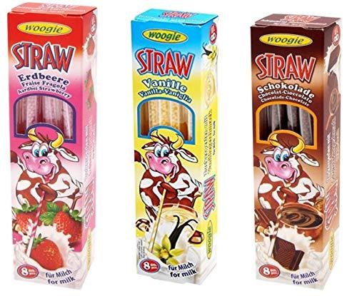 3 Confezioni Cannucce con Granulati 8x4g Gusto: Fragola - Vaniglia - Cioccolato GUNZ