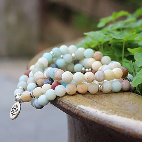 Amazonite 108 Mala Beads Yoga Necklace Natural Stone Charm Bracelet for Women Men Yoga Bangle