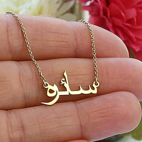 Collar personalizado árabe nombre personalizado collares para mujeres hombres oro plata color acero inoxidable cadena colgante collar joyería estilo 1