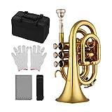 Muslady Mini Trompeta Bb Material de Latón Plano Instrumento de Viento con Boquilla Guantes Paño de Limpieza Estuche de Transporte