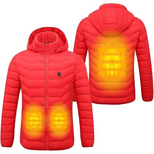 Sidiou Group Chaqueta eléctrica con calefacción Ropa calentada para Hombre con Carga USB para Hombre y Mujer Abrigo de algodón abrigado Chaqueta con Capucha (no Incluye energía móvil) (Red, S)