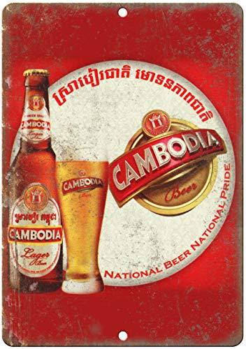 Blechschild, Vintage, Retro, Aluminium, Kambodscha-Lager, Bier, 25,4 x 35,6 cm