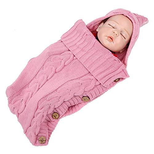 LYYAN Portátil Otoño Invierno Térmica Sacos de Abrigo Capucha Tejido de Punto Saco de Silla Bebé Saco de Dormir Windproof Universal Cochecito Carritos Cuna Saco de Dormir (Color : Pink)