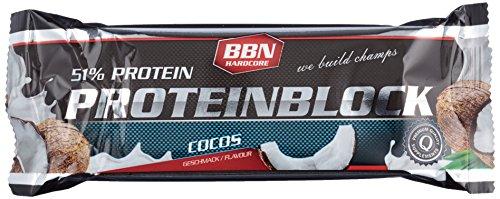 BBN Hardcore Protein Block Riegel, Kokos, 15 Stück