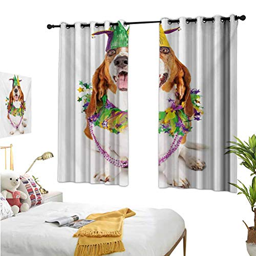Mozenou Mardi Gras,Thermal Insulating Blackout Curtains,Happy Smiling Basset Hound Dog Wearing a Jester Hat Neck Garland Bead Necklace Multicolor,Suitable for Any Room scene52x54 Inch