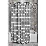iDesign Duschvorhang, schöner Badewannenvorhang in 183,0 cm x 183,0 cm aus Polyester, dunkelgrau/weiß