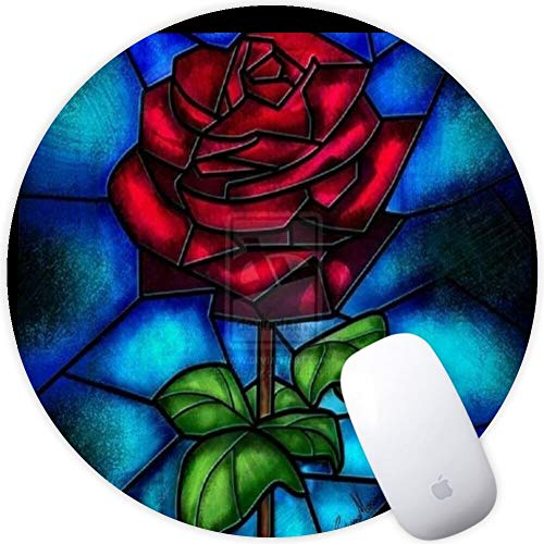 DISNEY COLLECTION Mouse Pad Round Mouse Pad Beast Beauty and The Rose She Had Bumper