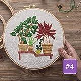 Kit de bordado DIY Plantas impresas Flor con aros Punto de cruz Costura Set Artesanía Artesanía Artesanía Costura Pintura Regalo, 12, con aro de plástico