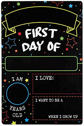 First Day Last Day of School Double Sided Sign (Dry Erase Board for Liquid Chalk Markers - 12' x 7.9')