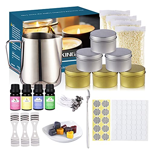 DIY Candle Making Kit for Beginners, Complete Candle Making Supplies for Adults Kids Family, Beeswax Scented Candles Supplies Candle Maker Set Including Melting Pot, Wicks, Candle Tins, Mixing Spoon