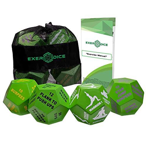 4er Pack Fitness Würfel Bundle mit Übungshandbuch & Tasche, perfekt für HIIT, Cardio, Yoga,...