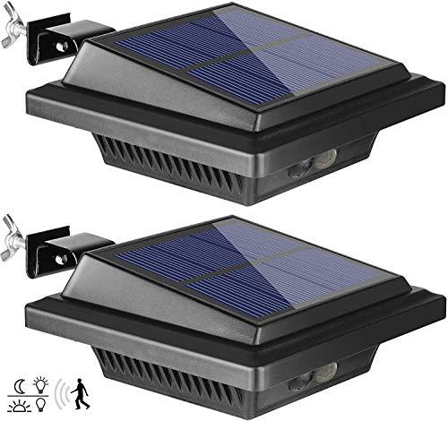 BILLION DUO Dachrinne Solarleuchte mit Bewegungsmelder 40 LEDs   Solarlampen für Außen   Schwarz Gartenbeleuchtung Kaltweißes Solarlicht, 3W PIR Sicherheitswandleuchte Außenlampe für Garage