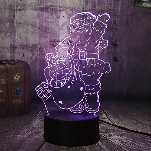 Luz de noche 3D Navidad Año Nuevo Papá Noel 3D LED RGB Luz de noche Lámpara de mesa USB Decoración del hogar Novedad Juguete para niños Regalo de cumpleaños