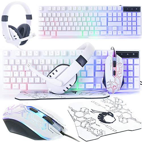 Weiße Gaming-Tastatur und Maus und...