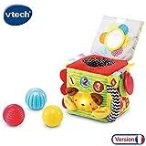 VTech - Cube Interactif Éveil Sensoriel, Jouet Bébé d'Éveil avec Différentes Matières