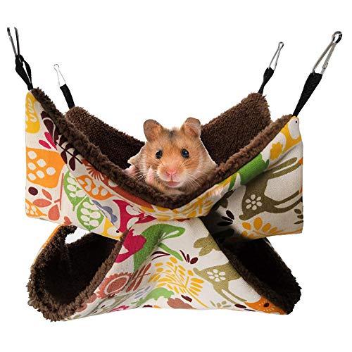 xlcukx Hamaca de Hámster, Bolsa de Sándwich de Doble para Dormir en Segura, para Gatos, Hurones, Ratas, Perros Pequeños 35 35 Cm / 13.8 13.8in Compatible