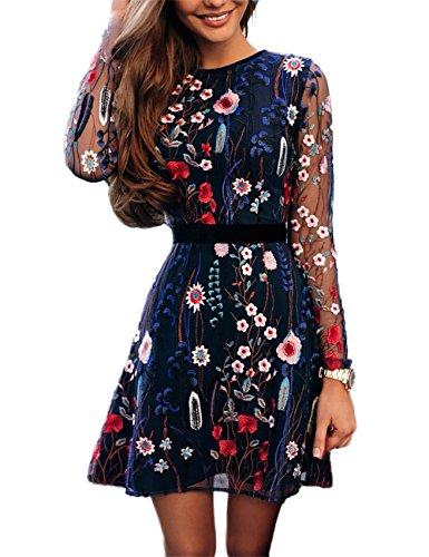 Boutiquefeel Damen Blumen Embroidery Casual Mesh Kleid Mehrfarbig M