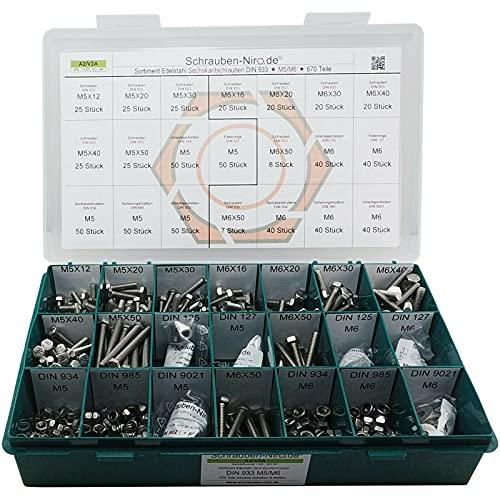 Sortiment M5 + M6 DIN 933 Edelstahl A2 (V2A) Sechskantschrauben mit Gewinde bis Kopf - Set bestehend aus Schrauben, Unterlegscheiben (DIN 125, 127, 9021) und Muttern (DIN 934, 985) - 670 Teile