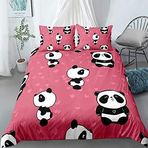 Evvaceo Child Bedding Set 3 Pieces Duvet Cover Cartoon Animal Panda 220 Cm X 230 Cm Teens Boy Girl Bedroom Kindergarten Bedding Superfine Fiber Mattress Cover(king)