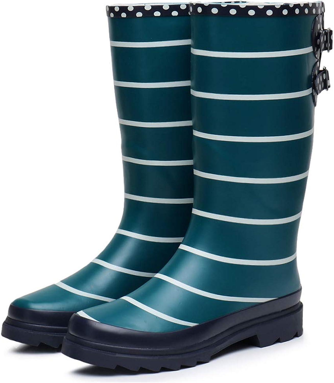 CHENSF Women's Striped Print Rain Boot Garden shoes
