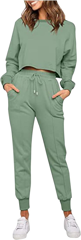 Women Suits Sets, Women's Two Piece Set of Gradient Solid Color O Neck Long Sleeve Sports Set