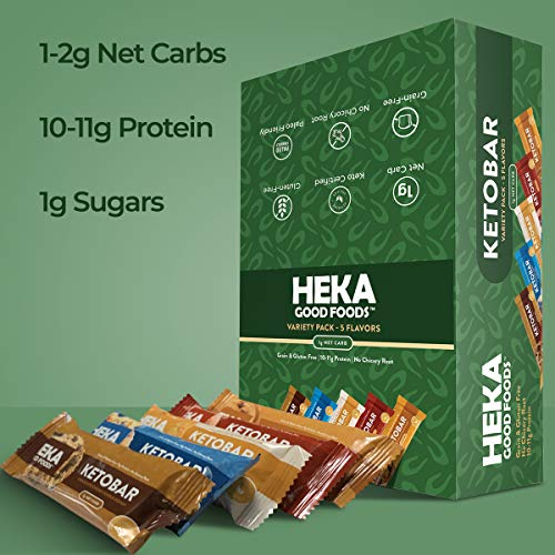 Heka Good Foods Low Carb Keto Bars, Variety Sampler Pack, 1-2g Net Carb, 10-11g Protein, No Sugar Added, Grain & Gluten Free, 20 Count 4