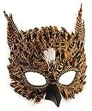 shoperama Máscara de búho con plumas, color marrón