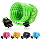 Etronic Security Bike Lock Self Coiling Resettable Combination Lock Bike Cable Lock, 6-Feet x 3/8-Inch - Green