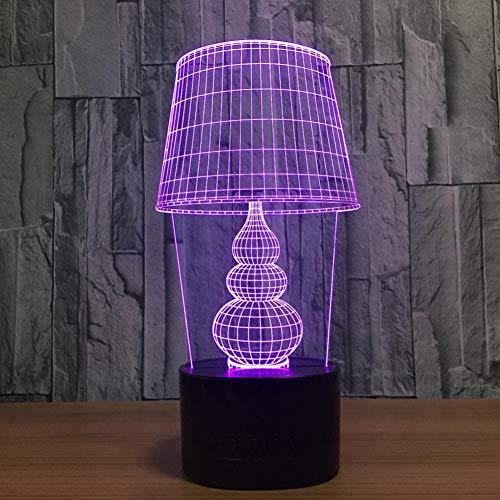 Yujzpl 3D-illusielamp Led-nachtlampje, USB-aangedreven 7 kleuren Knipperende aanraakschakelaar Slaapkamer Decoratie Verlichting voor kinderen Kerstcadeau-lampenkap